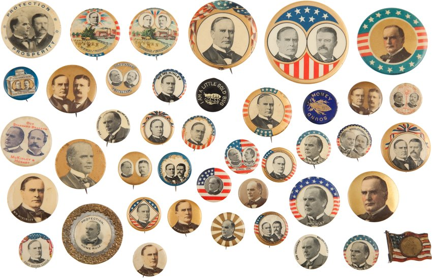 Collection of William McKinley political buttons. Image courtesy of Heritage Auctions