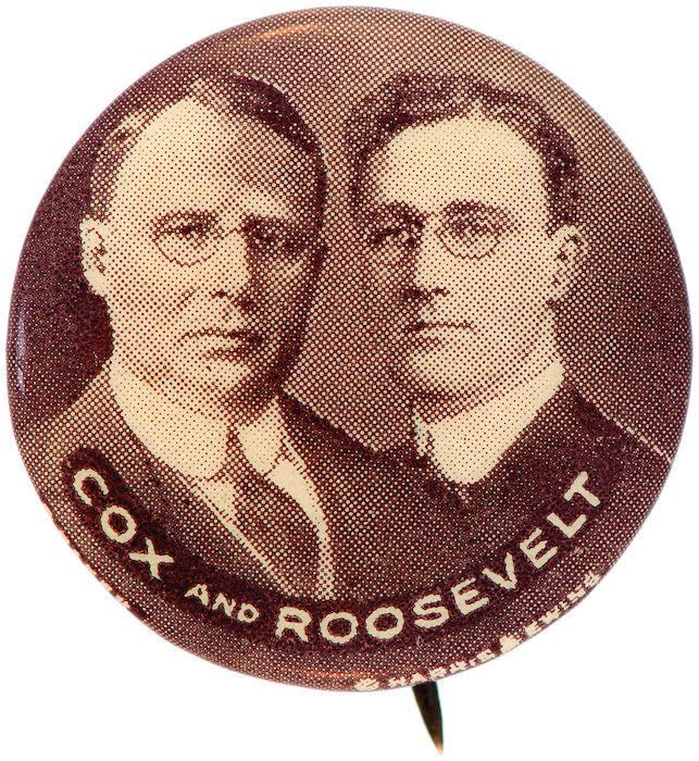 James M. Cox/FDR jugate button depicting the Democratic running mates from the presidential/vice-presidential election of 1920. Estimated value: $25,000+. Image courtesy of Hake's Americana