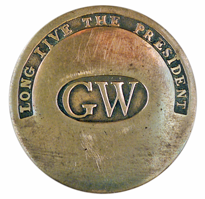 Those who collect only pre-1896 political memorabilia clamor for items such as this clothing button commemorating George Washington's inauguration in 1789. It is inscribed 'Long Live The President.' Estimated value: approximately $3,000. Image courtesy of Hake's Americana
