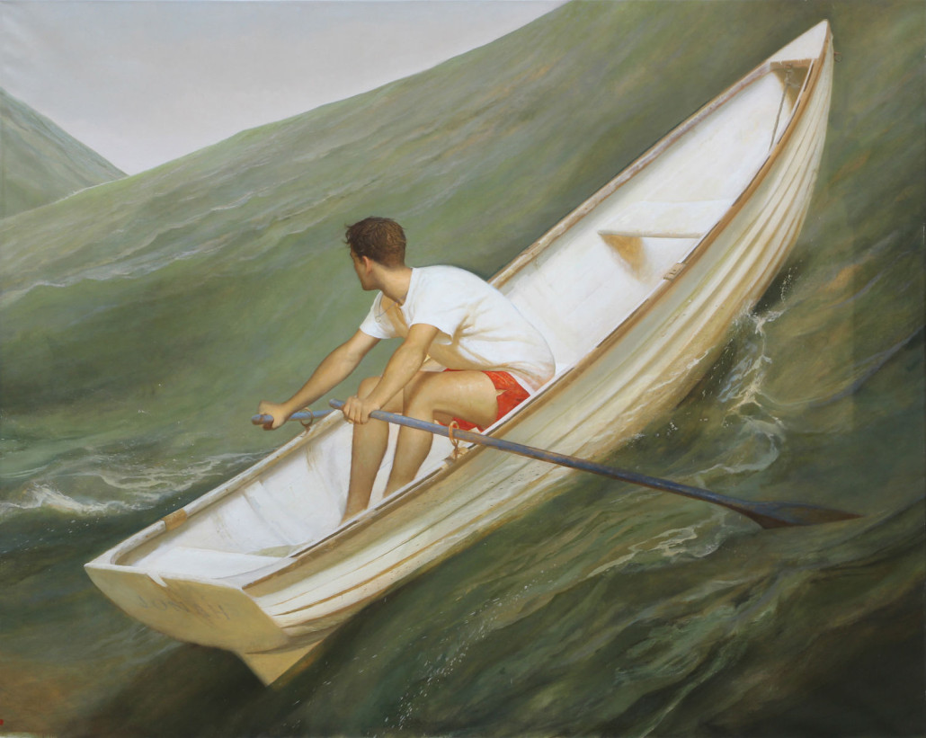 'Lifeboat' by Bo Bartlett (American, b 1955) graced the interior of Thomas Perkins' yacht, The Maltese Falcon. The painting will be offered for $30,000-$50,000. Clars Auction Gallery image