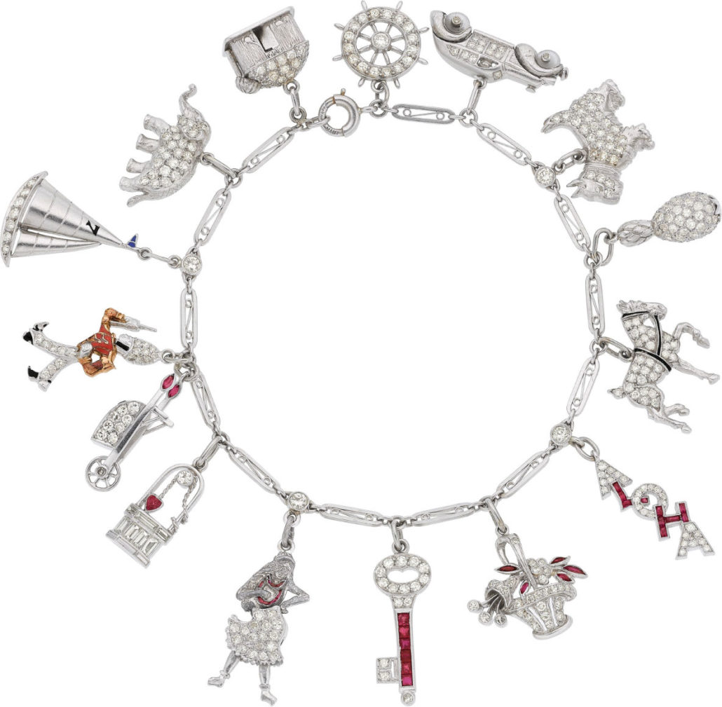 Art Deco diamond, ruby, black onyx, coral, platinum bracelet, (est. $10,000) given to Shirley Temple by Bill 'Bojangles' Robinson. Heritage Auctions image