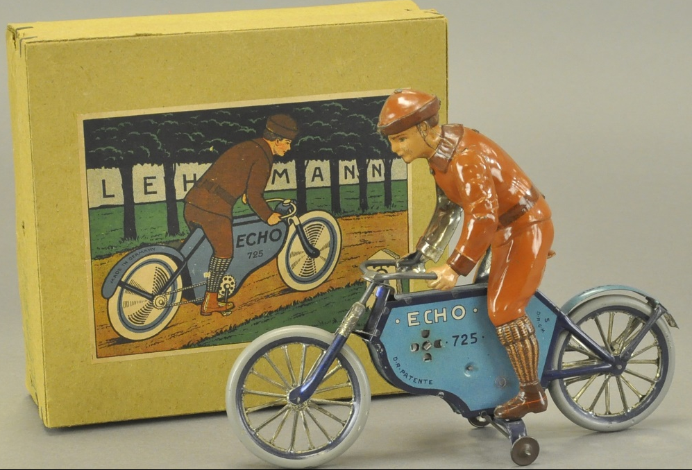 Lehmann Echo motorcycle with rider, early spoke-wheel version, original pictorial box, $11,201. Bertoia Auctions image