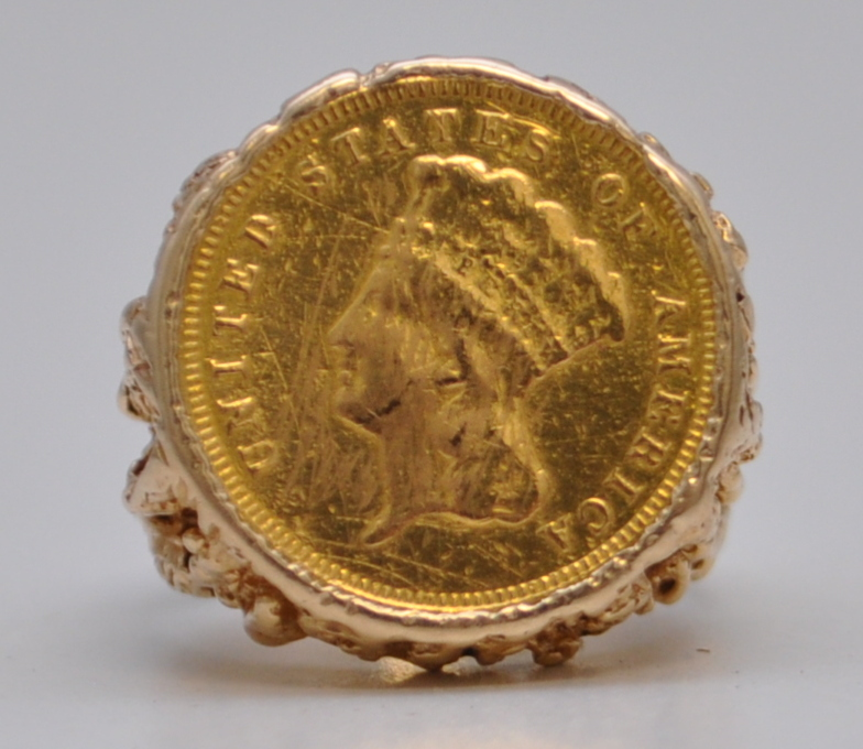 Mens 14K gold pre-1933 Indian Princess Head coin ring set. Estimate: $800-$900. Charleston Estate Auctions image