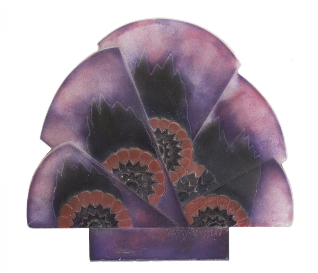 Argy-Rousseau pate-de-verre diffuser, fan form with stylized flowers. Image courtesy of LiveAuctioneers and Leslie Hindman Auctioneers