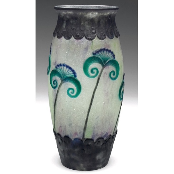 Argy-Rousseau pate-de-verre vase with purple and green stylized flowers. Image courtesy of LiveAuctioneers and Treadway Toomey Auctions