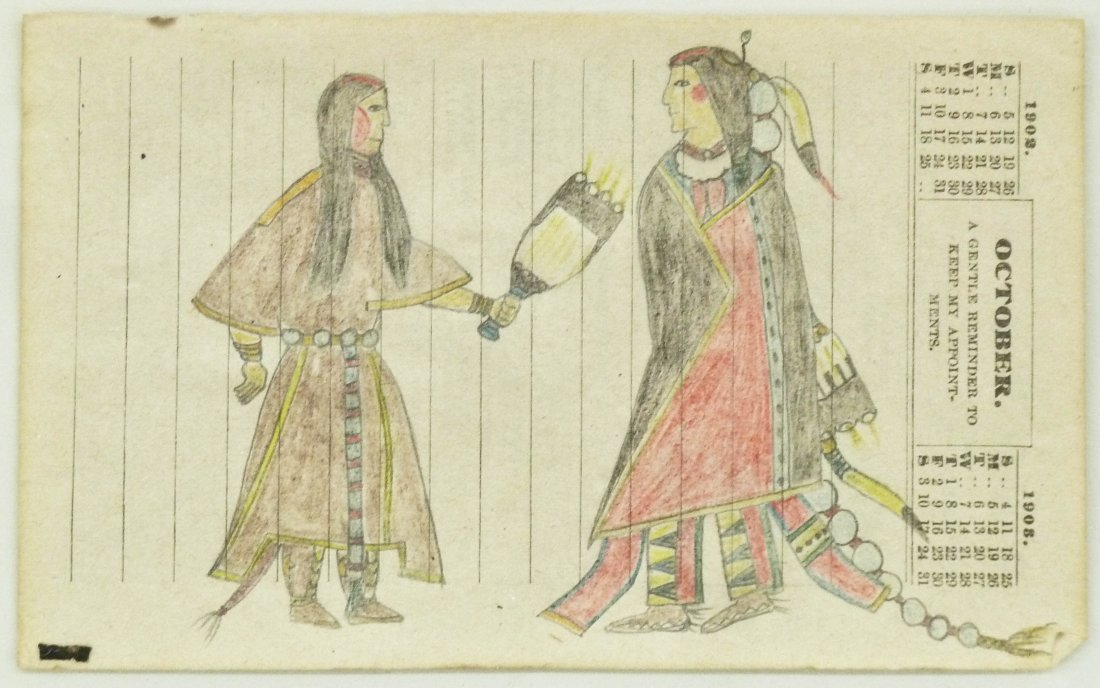 An example of Plains Indian ledger art drawn on a page of a 1908 calendar. MBA Seattle Auction image