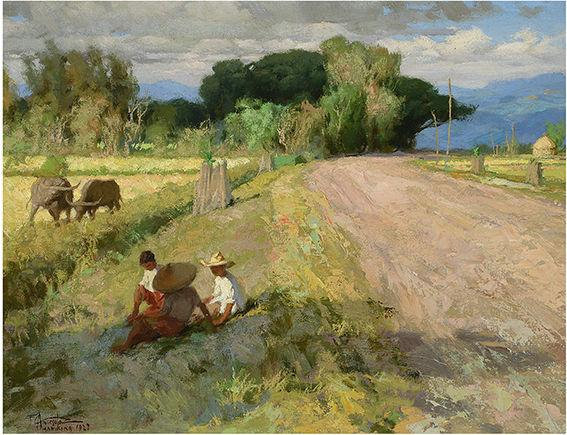 Fernando Cueto Amorsolo (Filipino 1892-1972), 'Marikina,' 1927. Sold for $112,100. Michaan's Auction image