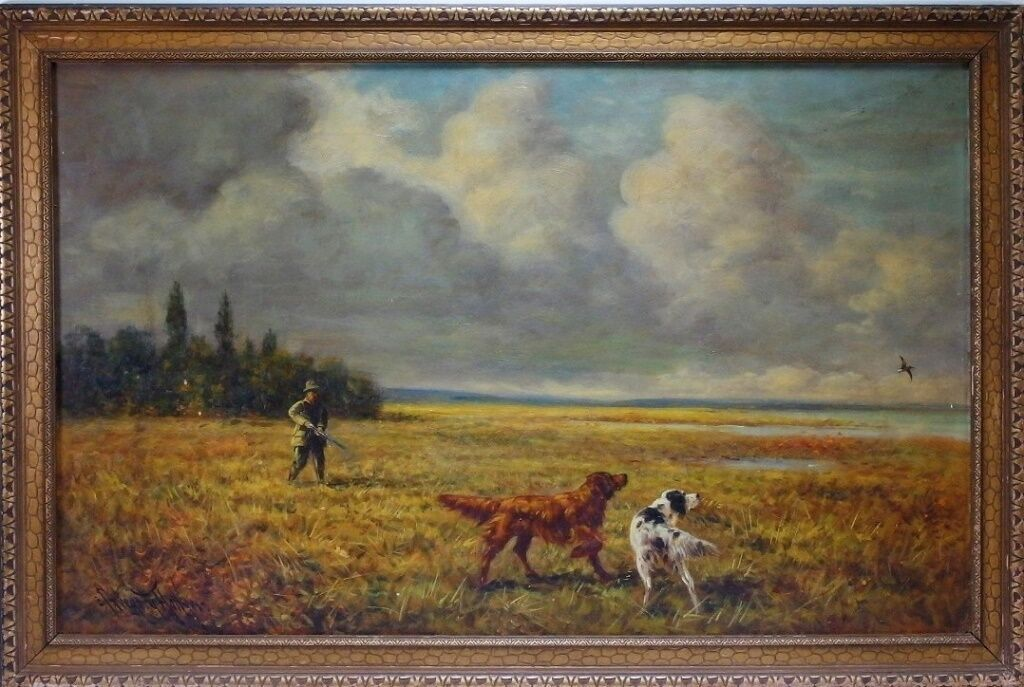 Oil on panel landscape painting by British-born American artist Gregory Hollyer (1871-1965), in the frame 24 inches by 36 inches (est. $600-$900). Bruneau & Co. Auctioneers image