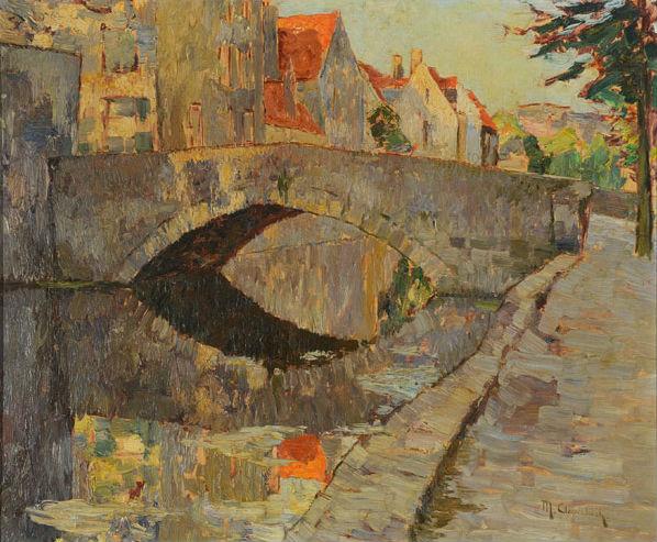 Max Clarenbach (German 1880-1952) 'River Scene With Bridge,' oil on canvas. Estimate: $3,000-$5,000. Michaan's Auctions image