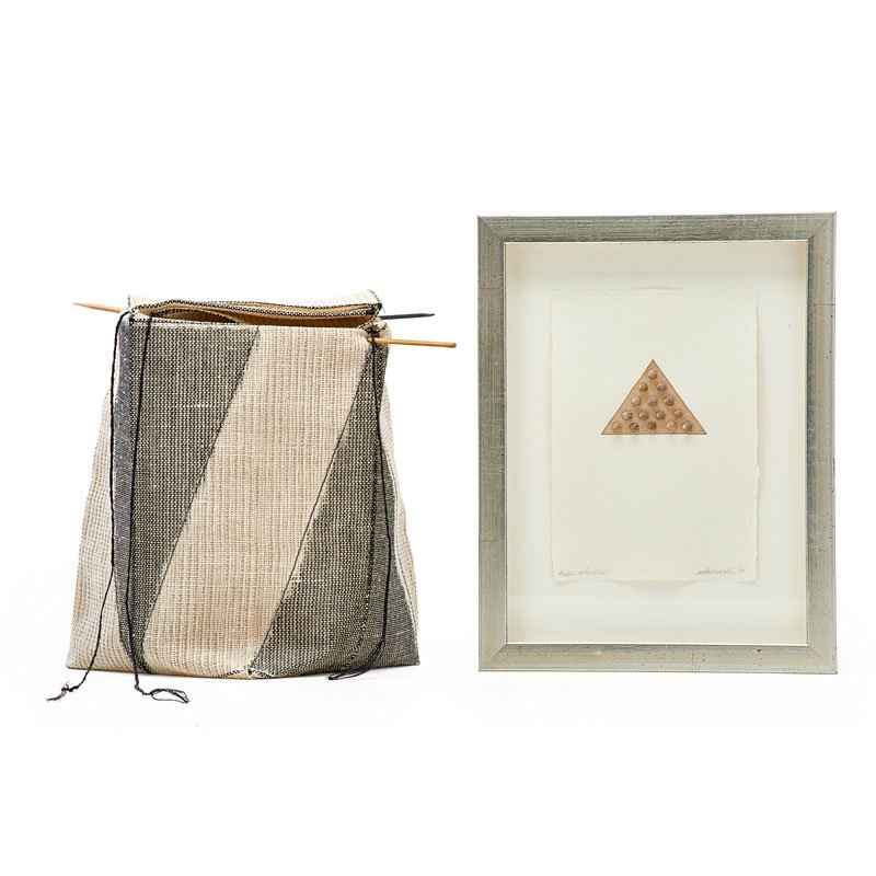 Kay Sekimachi, fiber basket and small print, dyed linen, bamboo, shells, handmade paper. Basket: 8 x 6 1/2 inches square. Rago Arts and Auction Center image