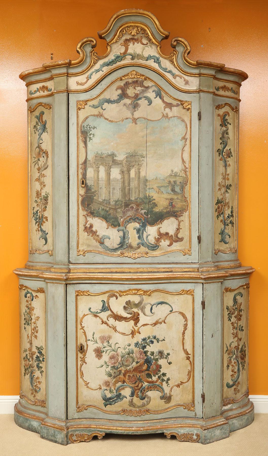 Italian Venetian Polychrome Cabinet, 17th 18th Century. Kaminski Auctions  Image