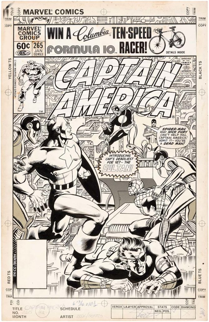 ddb0575342e0 Mike Zeck original cover art for Captain America  265 comic book