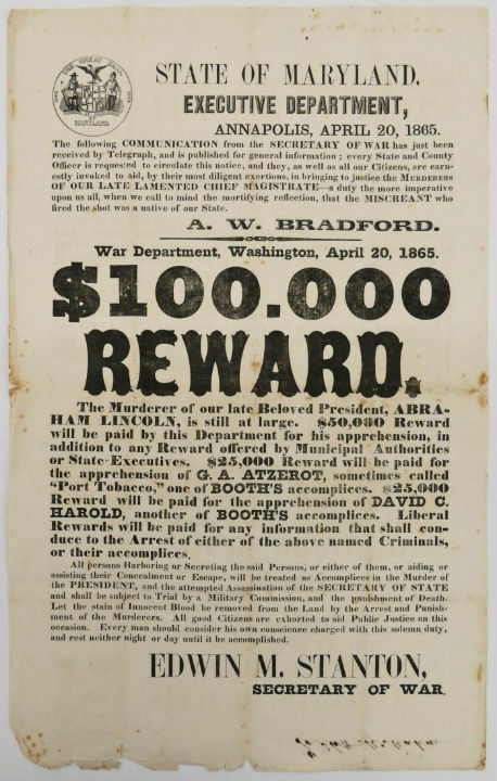 lincoln assassination reward poster tops 36k through liveauctioneers