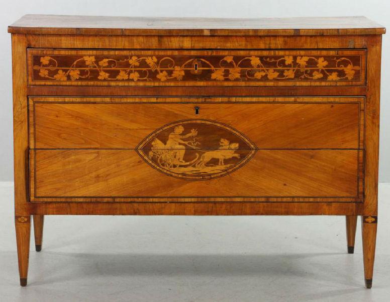 High Quality Eighteenth Century Italian Neoclassical Inlaid Three Drawer Chest, Having  Elaborate Inlay. Estimate: $2,500 $4,000. Kaminski Auctions Image