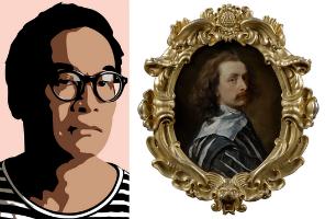 Julian Opie works on view in London mirror Van Dyck self-portrait
