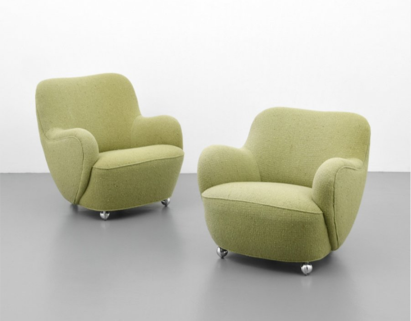 Lovely Vladimir Kagan Early, Wheeled BARREL Lounge Chairs, Model #100A, Soft  Pistachio Green Upholstery. Est. $8,000 $12,000