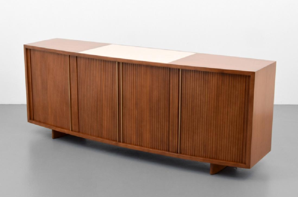 Rare And Early Cabinet With Tambour Doors, Vladimir Kagan For Kagan Dreyfus,  Constructed Of Wood, Glass And Metal. Similar To Example Shown In The  Complete ...