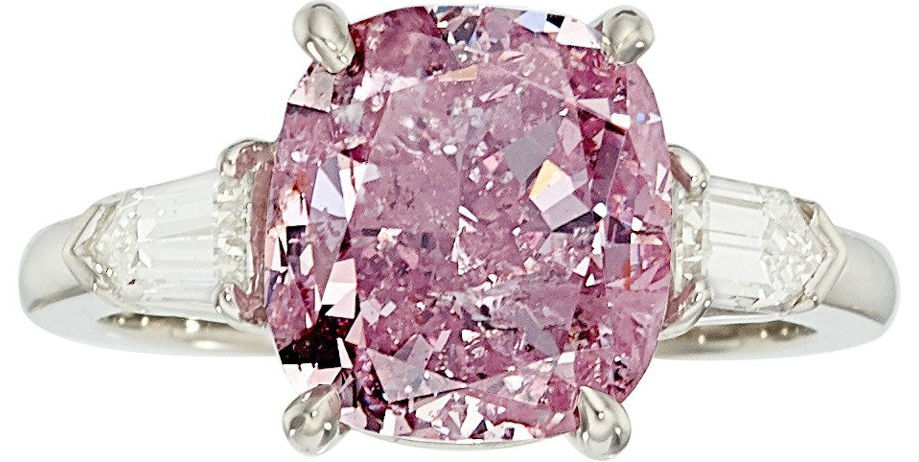 Fancy Intense Purplish Pink Diamond 5 04 Carats And Platinum Ring Enhanced By Bullet Shaped Diamonds Weighing A Total Of Approximately 0 35 Carat Price