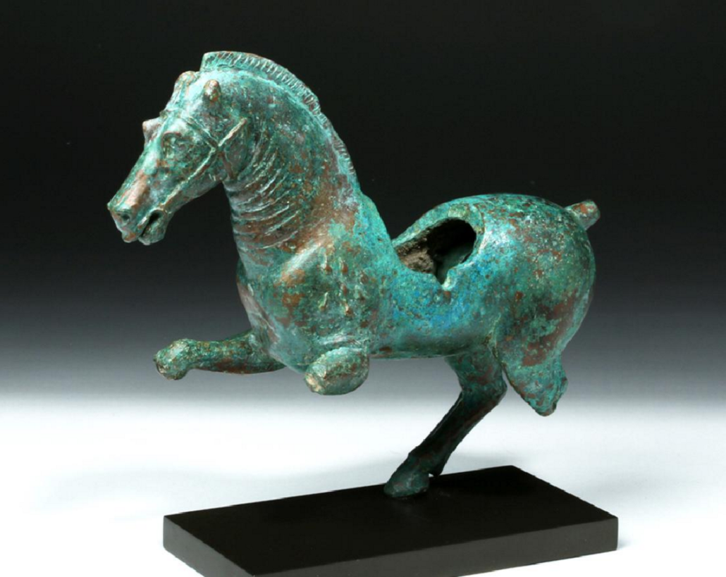 Important Hellenistic bronze statue of Alexander the Great's horse Bucephalus, circa 3rd century BCE, est. $25,000-$35,000