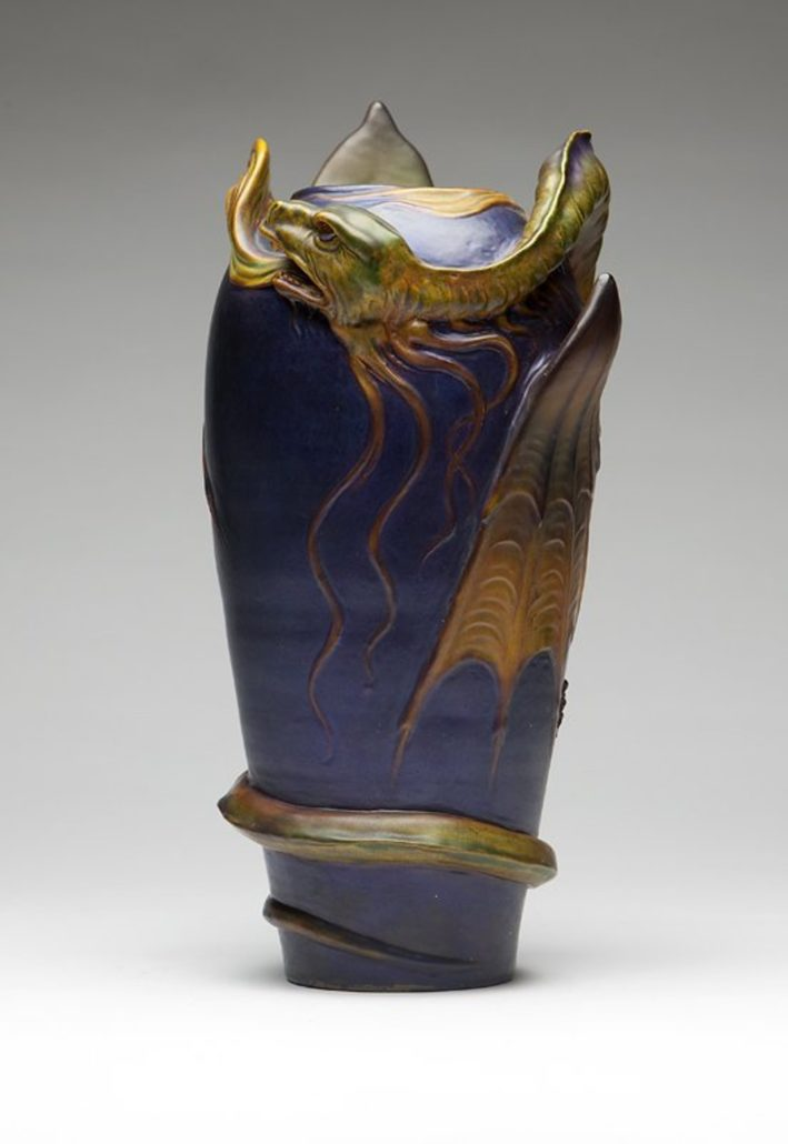 A large Zsolnay ceramic dragon vase, circa 1900, earned $55,000, well above its estimate of $1/$1,500, in a July 2012 auction at John Moran Auctioneers.