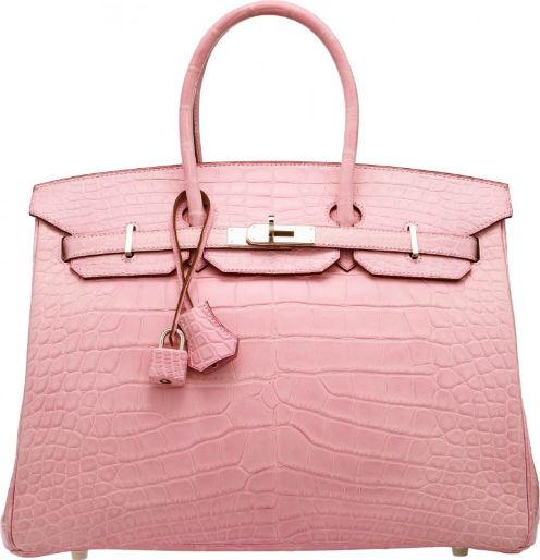 3b203042d4 Hermès 35cm matte pink 5P alligator Birkin Bag with 5P bubblegum pink  chevre leather interior (est.  90
