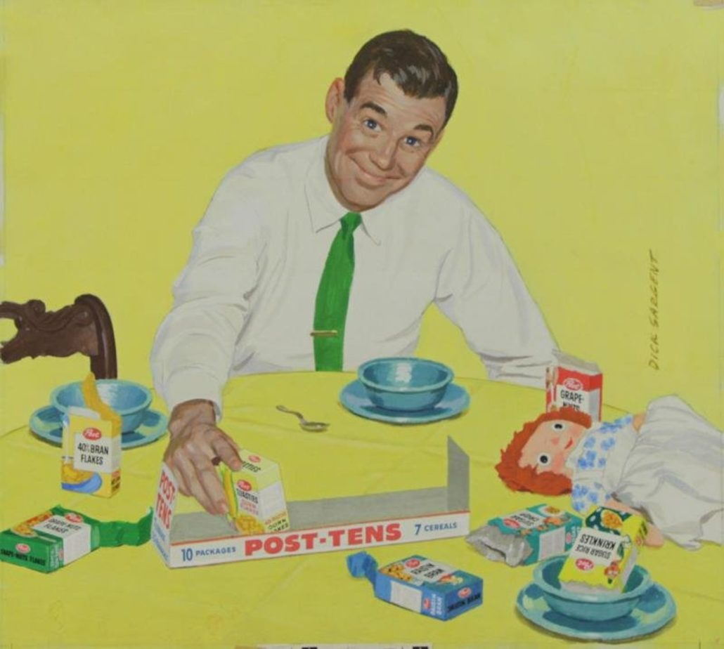 Richard Sargent (American, 1911-1978) artwork for a Post-Tens cereal ad that ran in This Week Magazine, May 4, 1958. Image courtesy of Clarke Auction Gallery and LiveAuctioneers