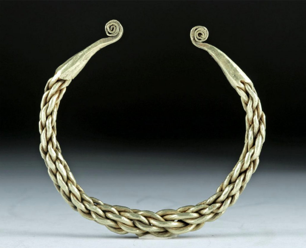 Viking twisted-gold cuff bracelet with coiled terminals, circa 9th-12th century CE, $4,980