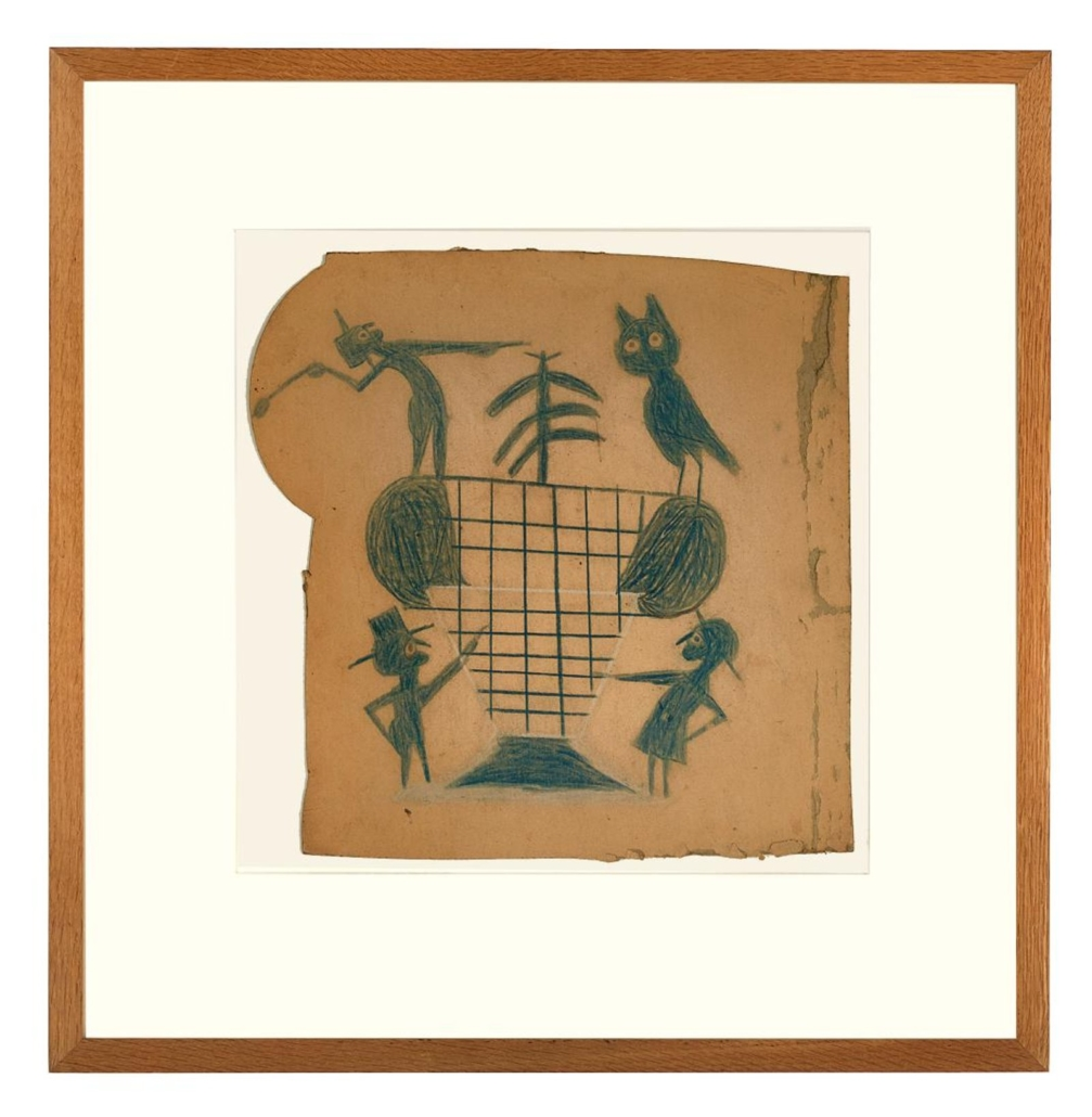 Bill Traylor's pencil, tempera and Conte crayon on cardboard work, Four Figures and Basket in Blue, went out at $50,000 in April 2018 at New Orleans Auction Galleries. Photo courtesy of New Orleans Auction Galleries and LiveAuctioneers