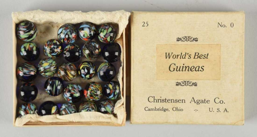 Christensen Agate No. 0 Guineas box set of glass marbles realized $6,000 in June 2016 at Morphy Auctions