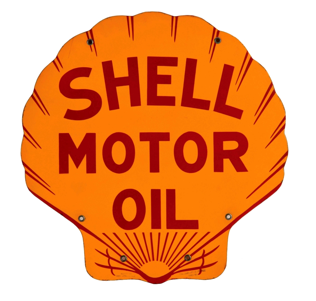 Double-sided Shell Motor Oil die-cut Motor Oil sign marked 'Tennessee Enamel, 1931; 23 by 23½ inches, condition 9.5 out of 10. Estimate: $3,500-$5,000