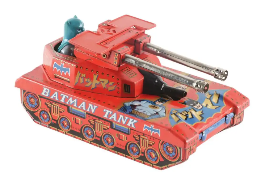 Yonezawa (Japan) lithographed-tin friction Batman Tank, one of the rarest of all Batman toys. Sold for $14,760 against an estimate of $2,000-$4,000