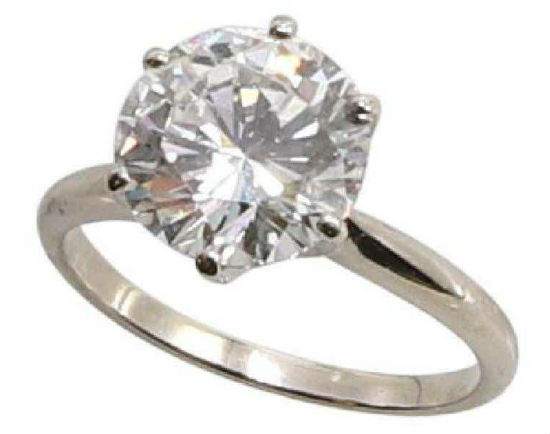 Diamond solitaire, 3.19 carats, 14K gold, size 6. Price realized: $22,800. Alderfer Auctions image