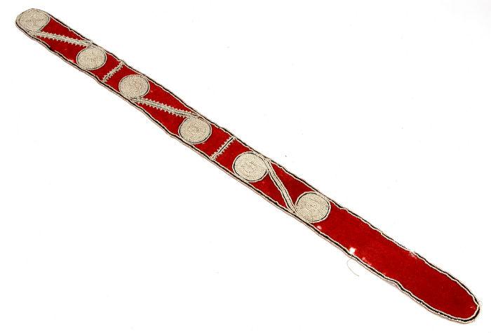 Chickasaw beaded powder horn strap. Price realized: $17,550. Jeffrey S. Evans & Associates image