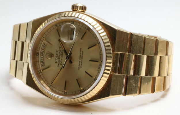 Rolex Oyster Quartz Day-Date Superlative Chronometer. Price realized: $7,800. Alderfer Auction image