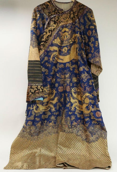 Chinese bullion-embroidered silk dragon robe, 53in. long. Price realized: $2,700. Alderfer Auction image
