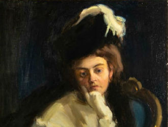 Janos Vaszary portrait of his wife starring at Gray's June 26
