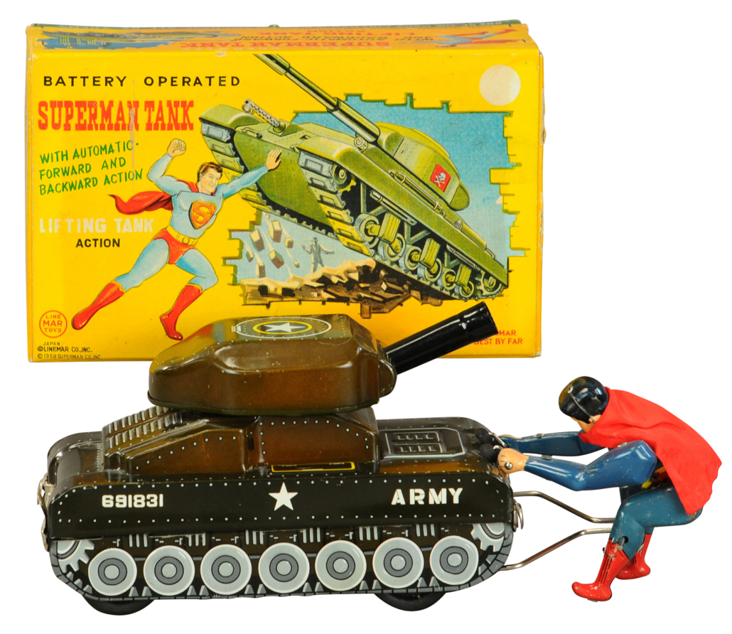 Linemar battery-operated Superman Tank with original factory box. Sold for $6,000