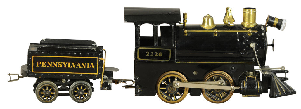 Voltamp 2220 Pennsylvania locomotive and tender, 2-inch gauge, near-mint condition. Sold for $12,000 against a $5,000--$7,500 estimate
