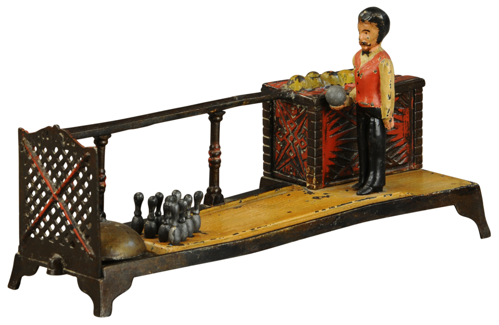 Bowling Alley cast-iron mechanical bank. Sold for $19,200