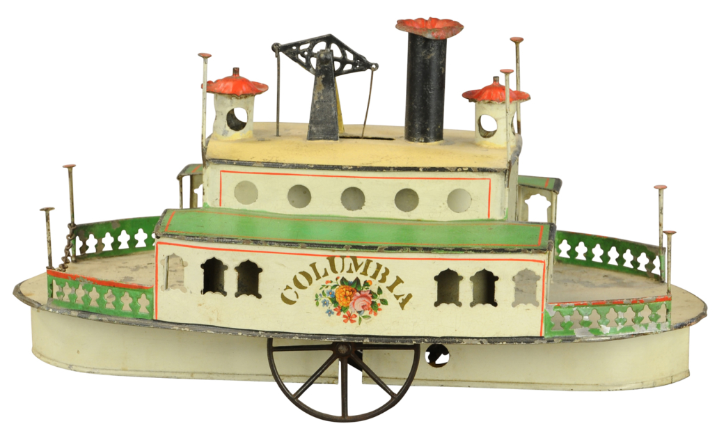 Althof Bergmann 'Columbia' ferry boat, 13 inches long, hand-painted, stenciled tin. Sold for $40,800 against a $20,000-$30,000 estimate