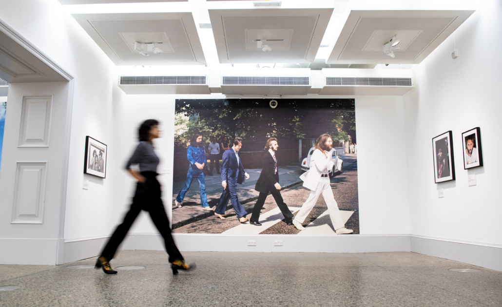 The Kelvingrove Art Gallery and Museum is the first venue in the UK to host the Linda McCartney retrospective. McCartney's photograph of the Beatles crossing Abbey Road in London can be seen in the background. Image provided by the gallery.