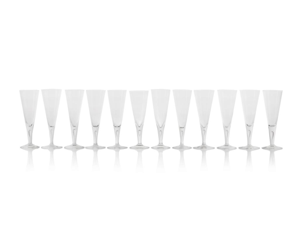 Twelve Steuben champagne flutes, $500-$700
