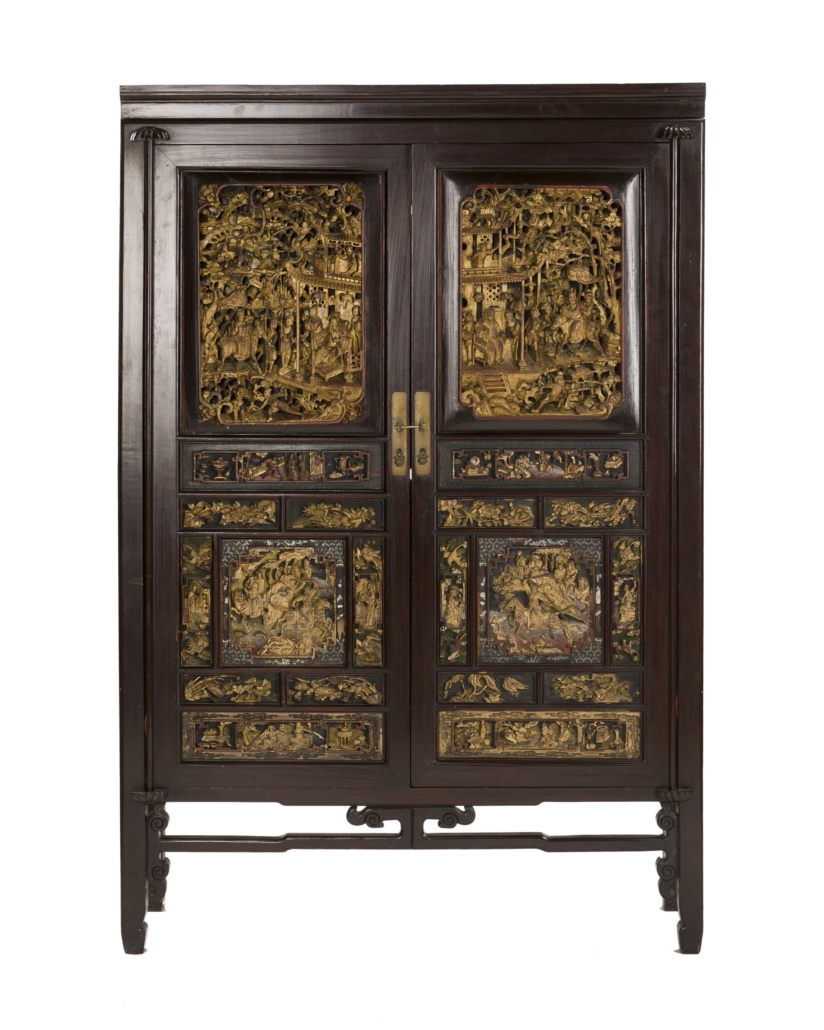 Chinese carved wooden cabinet, est. $1,000-$1,500