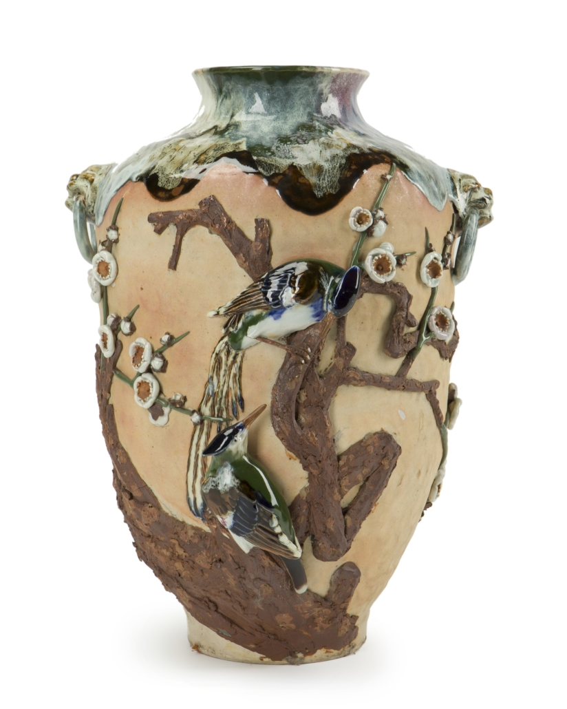 Sumida ware vase with applied bird and cherry blossom decoration. Est. $600-$900