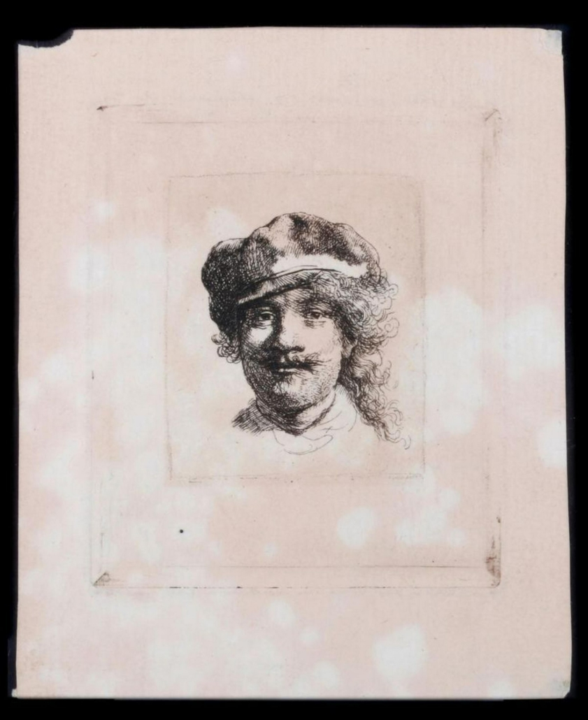 Rembrandt Van Rijn (1606 – 1669). Self Portrait in a Flat Cap, circa 1602. Later state. Paper size: 5 inches high x 3 ¾ inches. Image size: 4 inches high x 2 3/4 inches. Condition: Good. Date: 17th century. Estimate: $2,000-4,000.