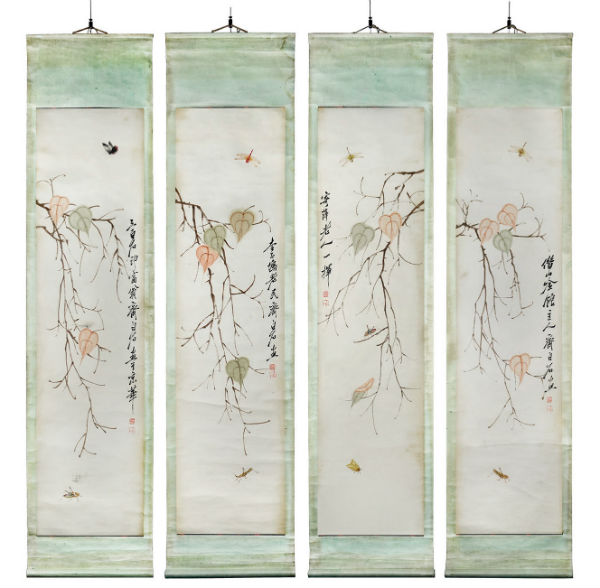 'Leaves and Insects' by Qi Baishi (1864-1957). Inscribed and signed Qi Baishi, with two artist seals on each panel. Gianguan Auctions image