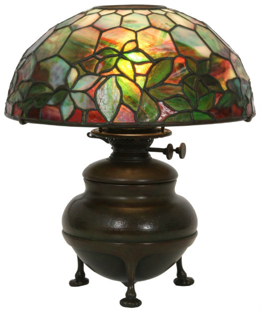 Lighting up the auction block is this Tiffany Studios Woodbine table lamp ($12,000-$15,000). Fontaine's image