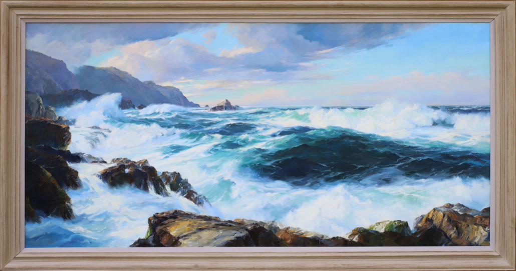 Marine painting by Bennett Bradbury titled 'The Big Sur,' est. $3,000-$5,000. Richard E. and Elisabeth S. Poole Collection