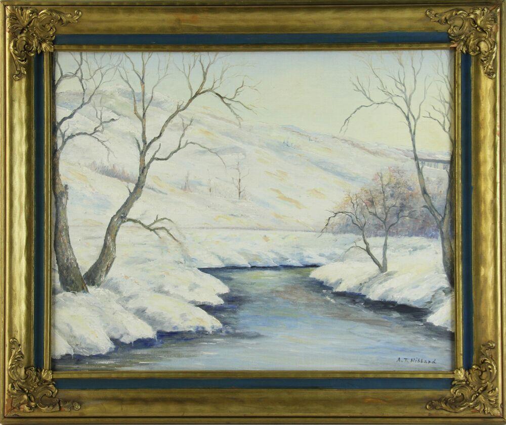 Aldro Hibbard (1886-1972), winter landscape, oil on board. Est. $2,000-$3,000