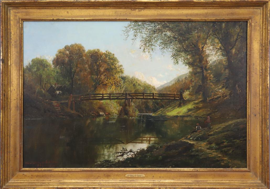 Landscape by Edmund Darch Lewis titled 'Old Bridge on the Brandywine,' est. $2,000-$3,000